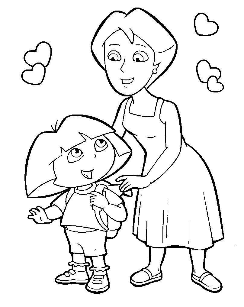Мама с дочкой рисунки для срисовки - шаг 6