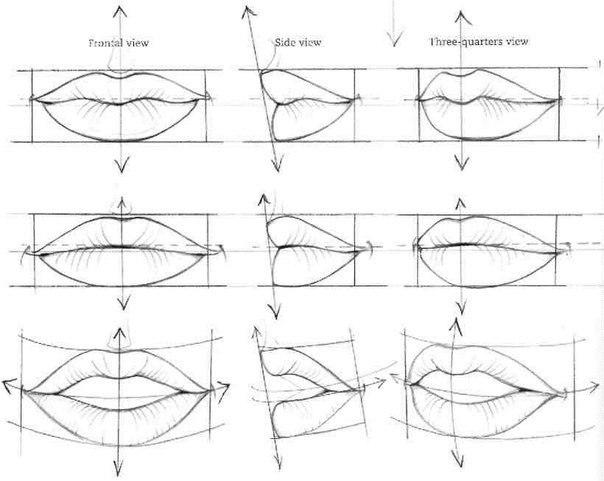 Наброски губ для начинающих с разных ракурсов - шаг 1