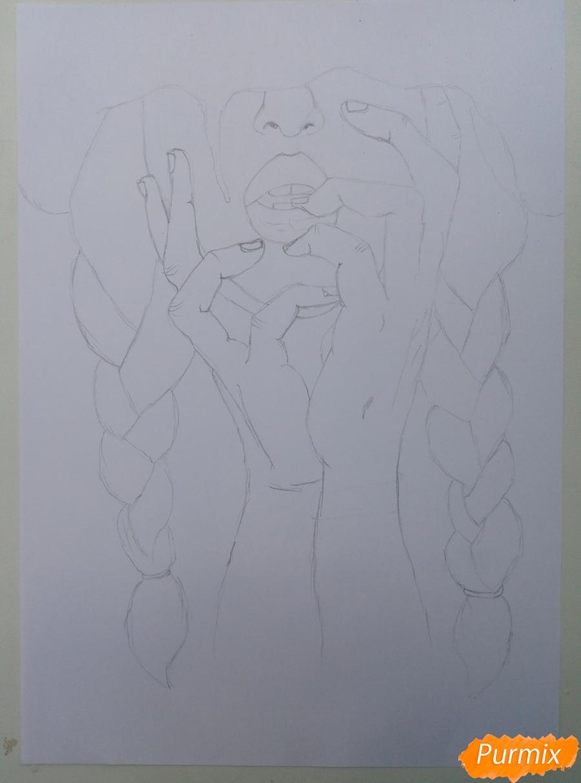 Рисуем девушку с косичками цветными карандашами - шаг 1