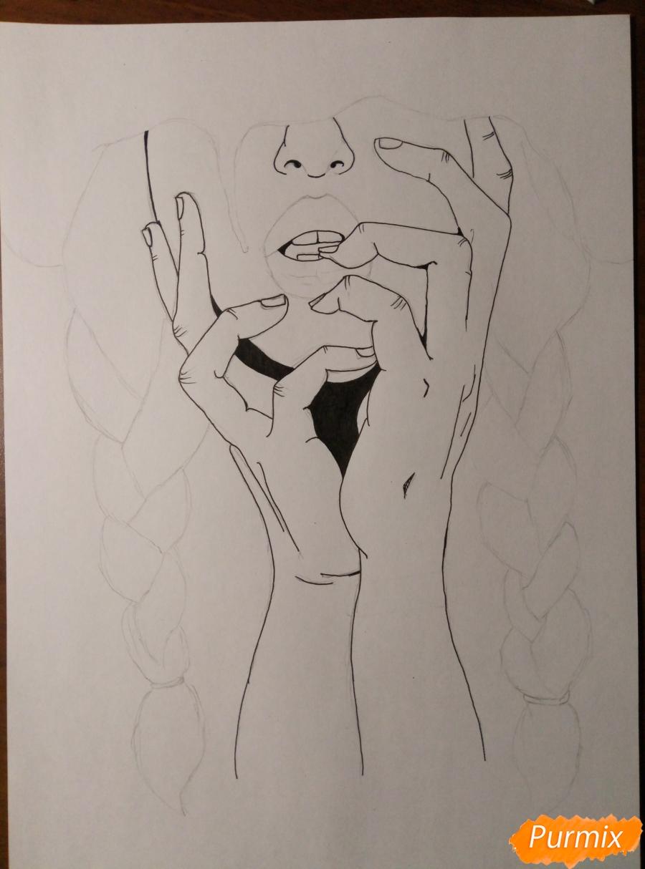 Рисуем девушку с косичками цветными карандашами - шаг 2