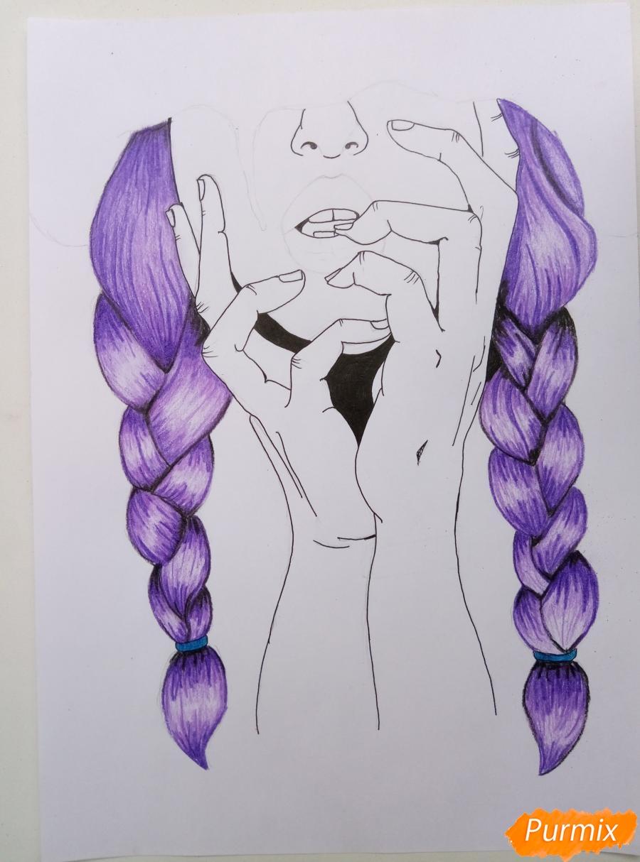 Рисуем девушку с косичками цветными карандашами - шаг 4