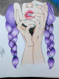 Рисуем девушку с косичками цветными карандашами