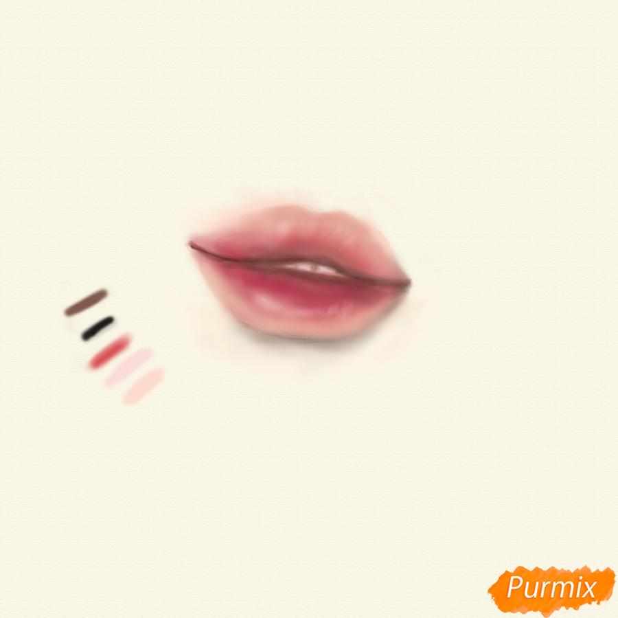 Рисуем реалистичные губы - шаг 4