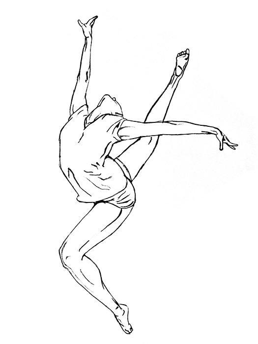 Рисунки гимнасток для срисовки - шаг 1