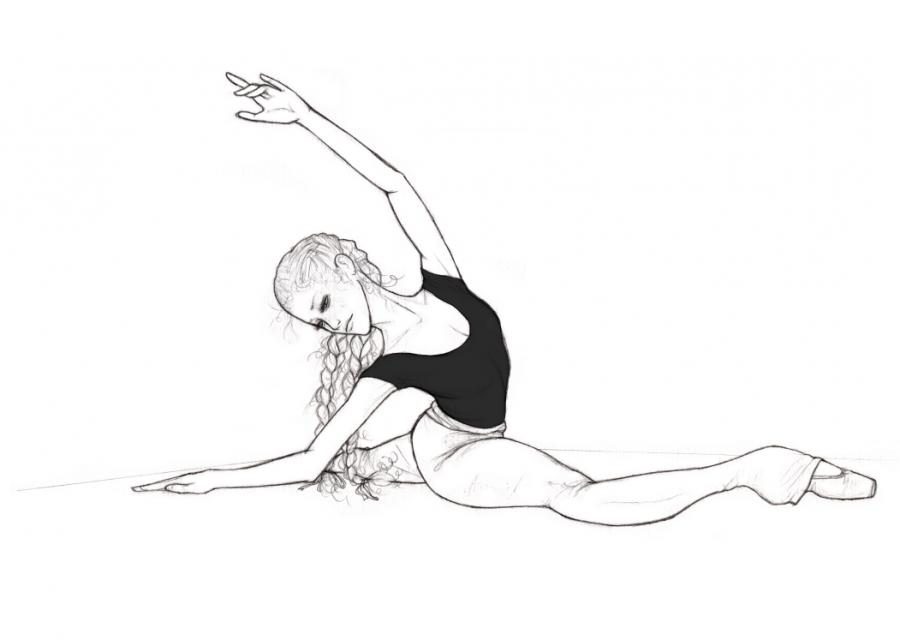 Рисунки гимнасток для срисовки - шаг 3