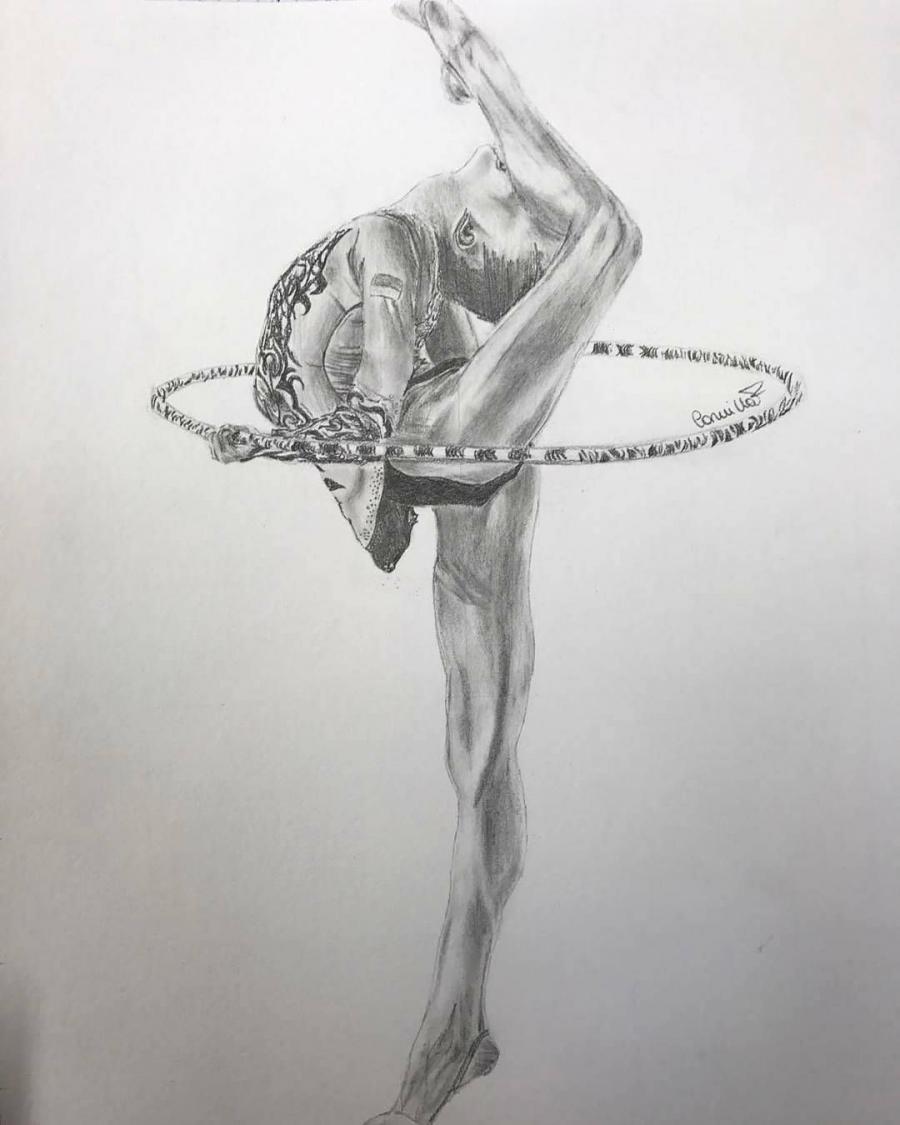 Рисунки гимнасток для срисовки - шаг 7