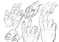 руку человека карандашом