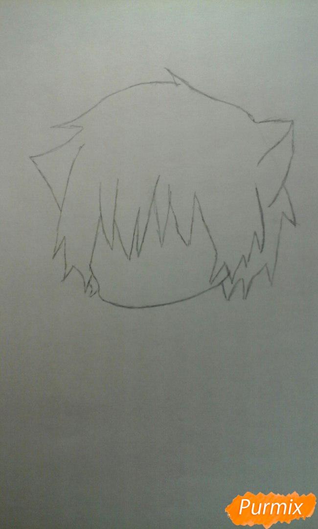 Рисуем чиби Акаши Сейджуро в виде кота карандашами - шаг 2