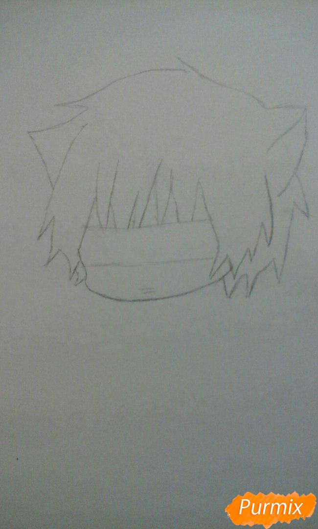 Рисуем чиби Акаши Сейджуро в виде кота карандашами - шаг 3