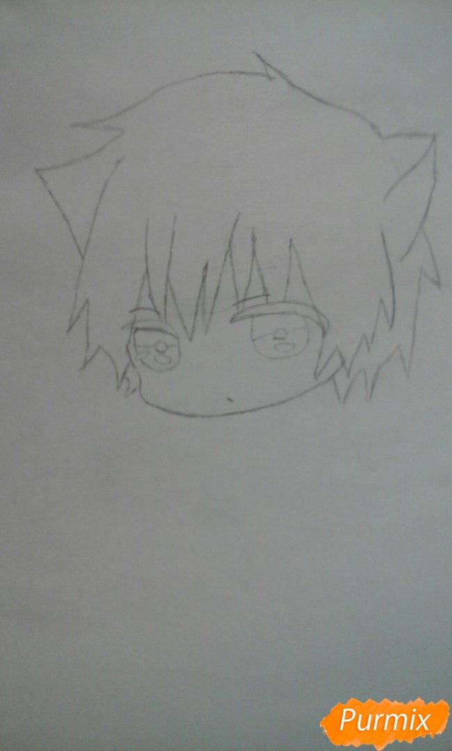Рисуем чиби Акаши Сейджуро в виде кота карандашами - шаг 4