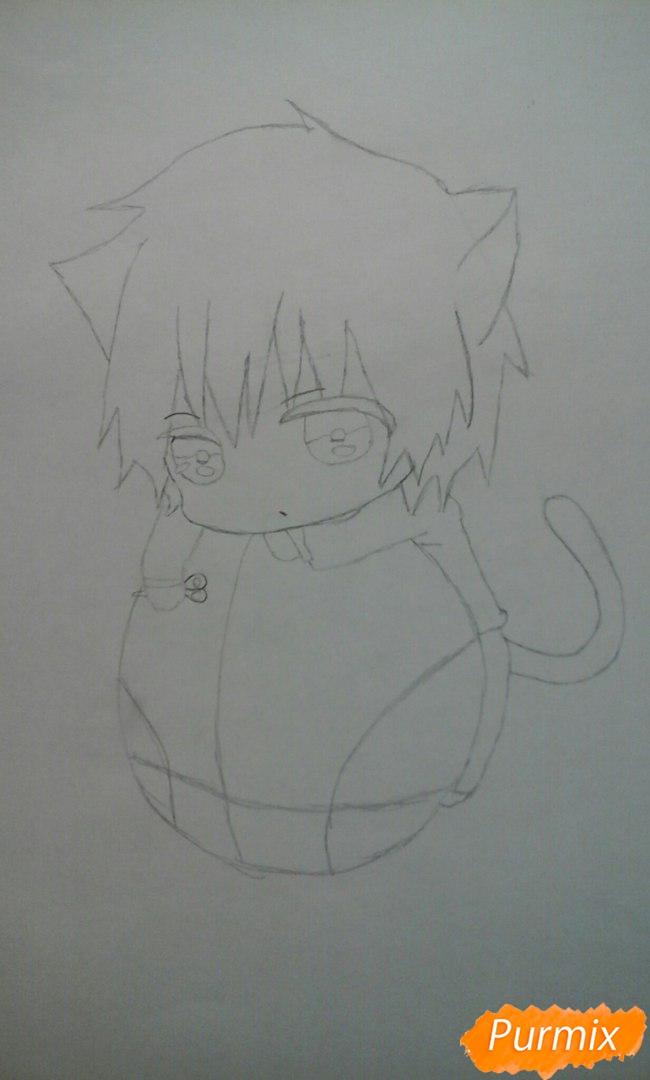 Рисуем чиби Акаши Сейджуро в виде кота карандашами - шаг 6