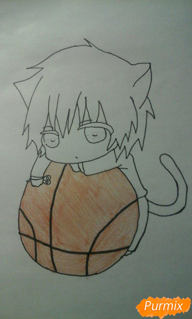 Рисуем чиби Акаши Сейджуро в виде кота карандашами - шаг 8