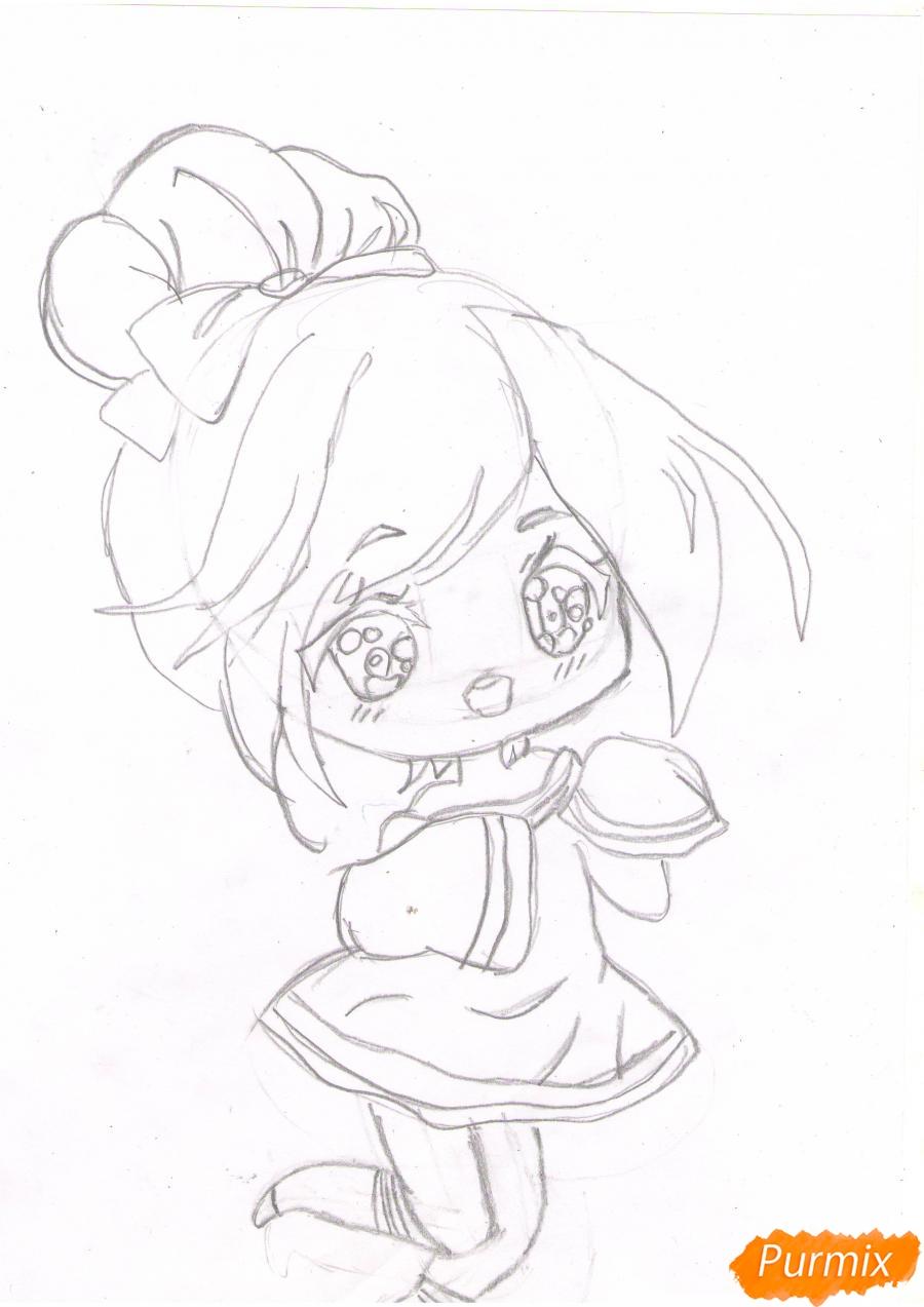 Рисуем анимешную чиби девушку с каштановыми волосами - шаг 3