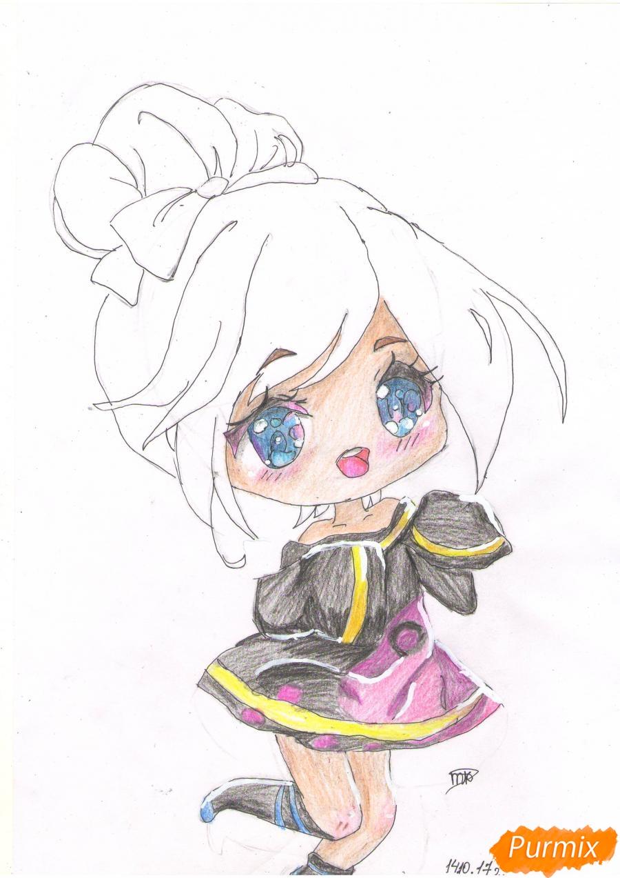 Рисуем анимешную чиби девушку с каштановыми волосами - шаг 6