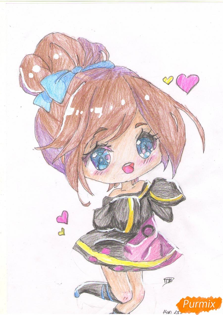 Рисуем анимешную чиби девушку с каштановыми волосами - шаг 7