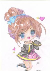 анимешную чиби девушку с каштановыми волосами