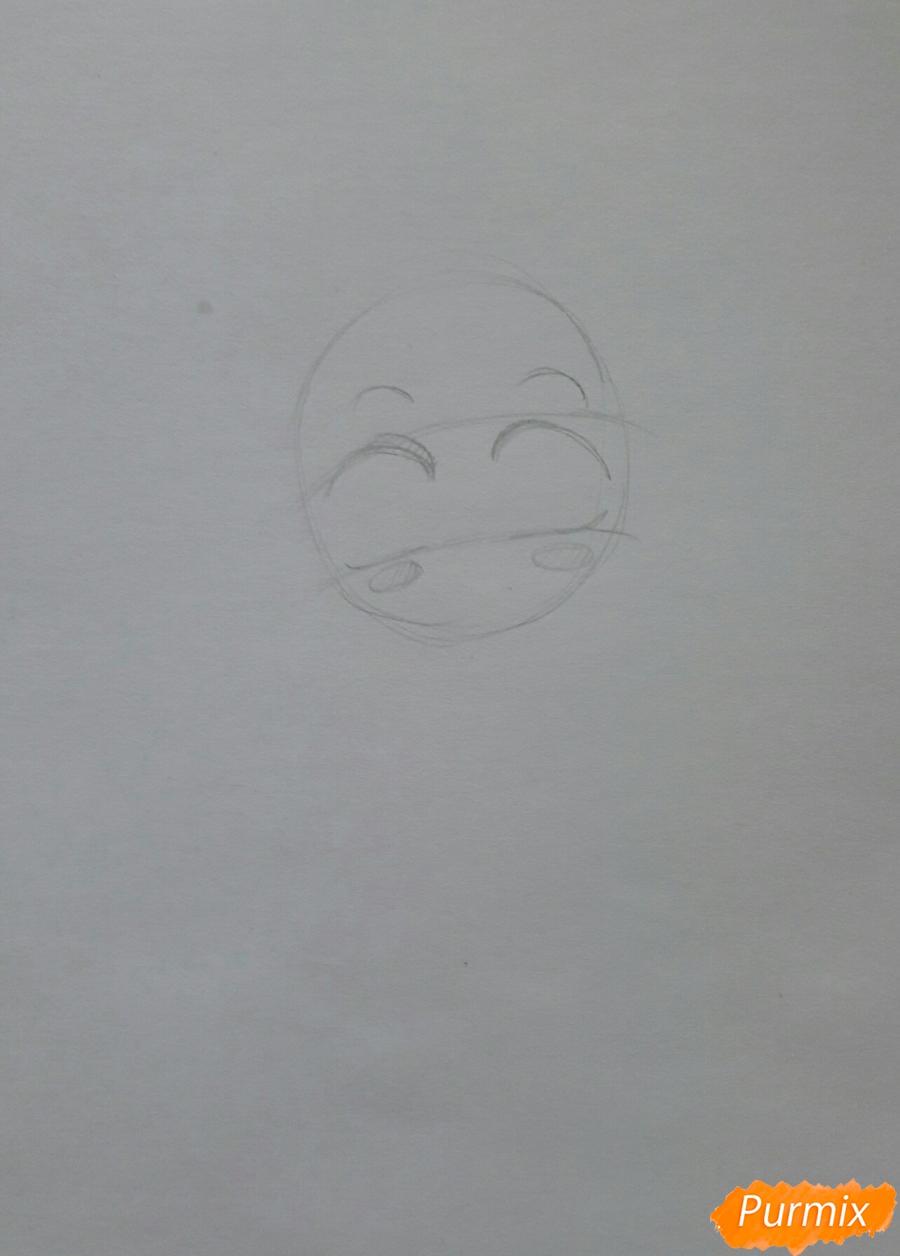 Рисуем анимешную чиби в шарфике цветными карандашами - шаг 1