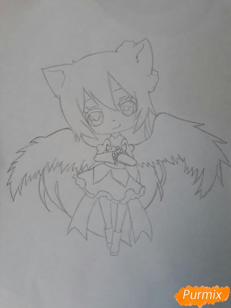 Рисуем Асуна Юки с крыльями в стиле чиби - шаг 1