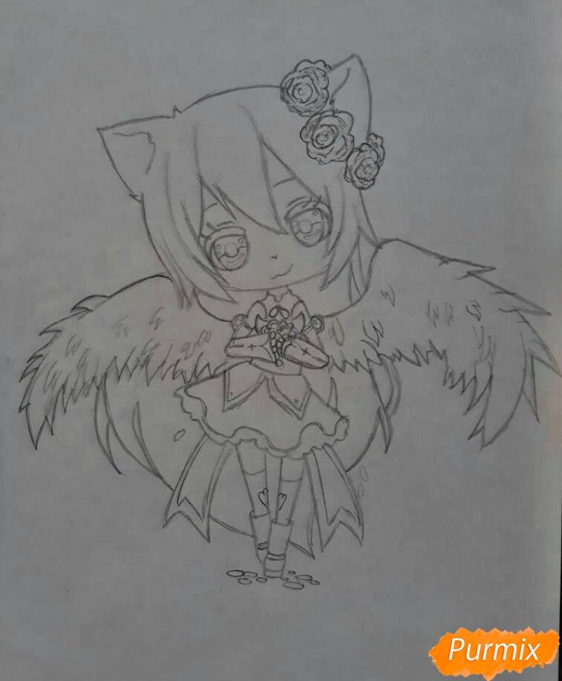 Рисуем Асуна Юки с крыльями в стиле чиби - шаг 2