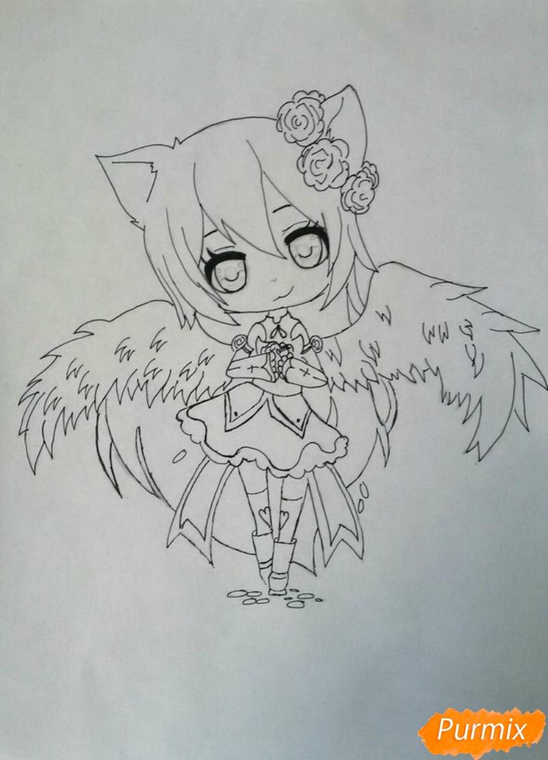 Рисуем Асуна Юки с крыльями в стиле чиби - шаг 3