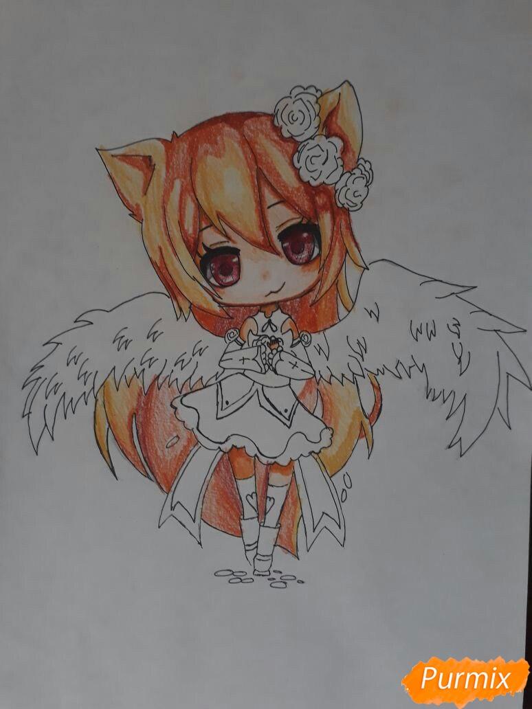 Рисуем Асуна Юки с крыльями в стиле чиби - шаг 5