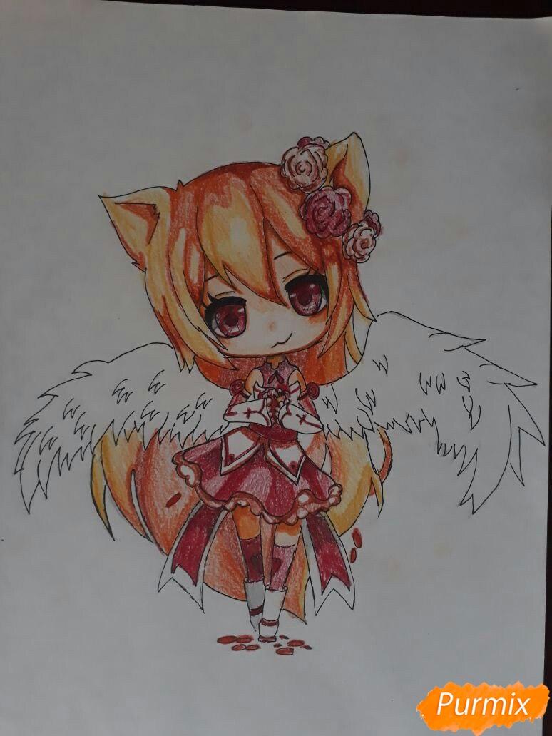 Рисуем Асуна Юки с крыльями в стиле чиби - шаг 6