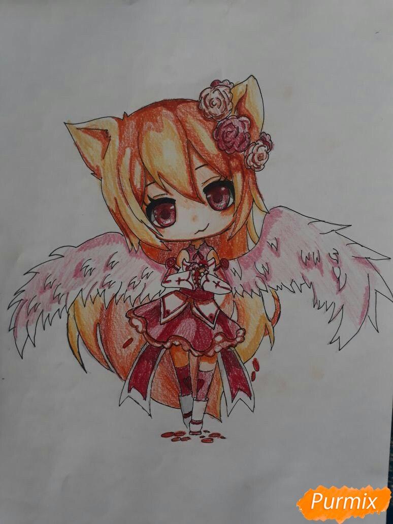 Рисуем Асуна Юки с крыльями в стиле чиби - шаг 7