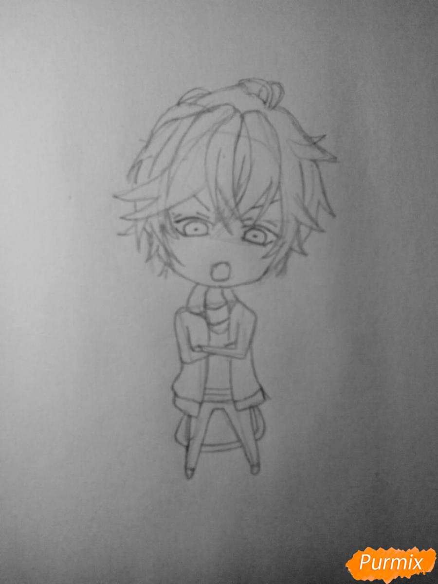 Рисуем Аято Сакамаки в стиле чиби - шаг 3