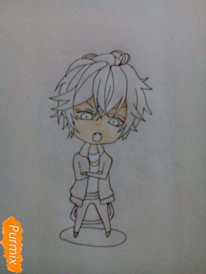 Рисуем Аято Сакамаки в стиле чиби - шаг 4