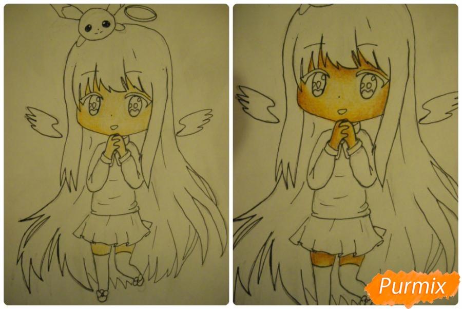 Рисуем чиби ангелочка с Пикачу на голове - шаг 10