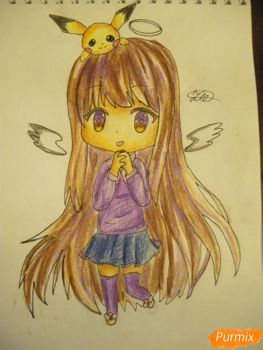 Рисуем чиби ангелочка с Пикачу на голове - шаг 14