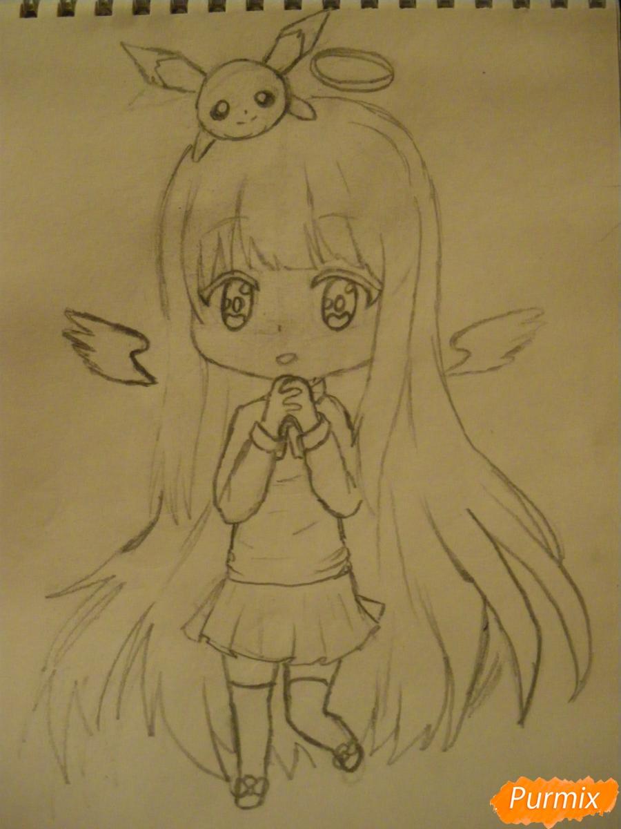 Рисуем чиби ангелочка с Пикачу на голове - шаг 8