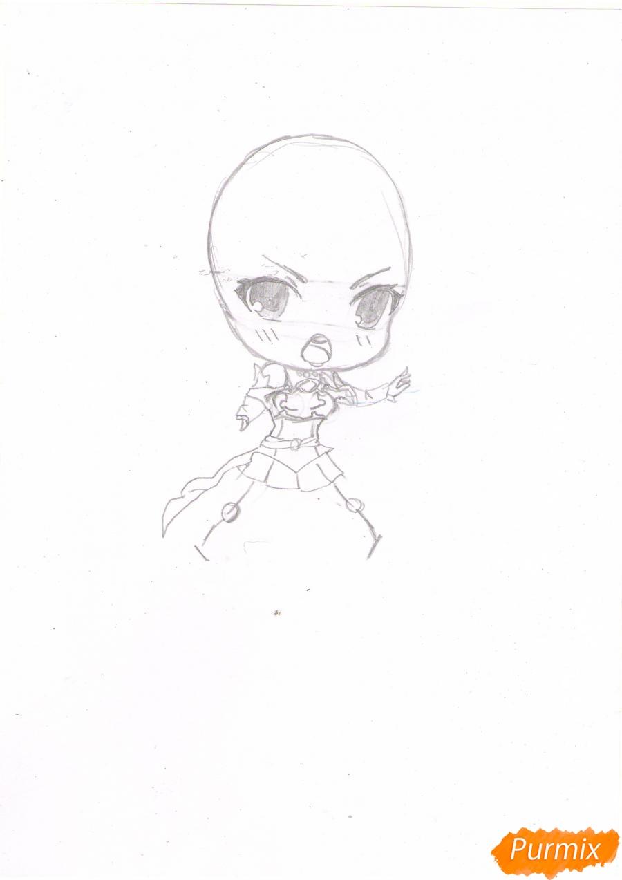 Рисуем чиби Асуну Юки в полный рост - шаг 2