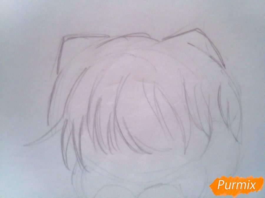 Рисуем милого чиби Чимина из корейской поп-групы BTS карандашами - шаг 2