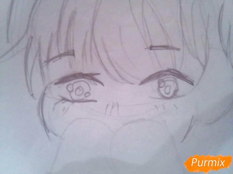 Рисуем милого чиби Чимина из корейской поп-групы BTS карандашами - шаг 3