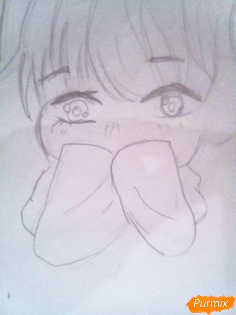 Рисуем милого чиби Чимина из корейской поп-групы BTS карандашами - шаг 4