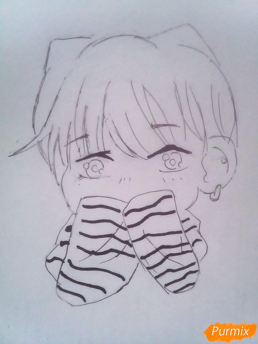 Рисуем милого чиби Чимина из корейской поп-групы BTS карандашами - шаг 6