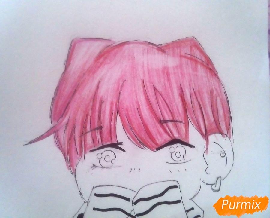 Рисуем милого чиби Чимина из корейской поп-групы BTS карандашами - шаг 7