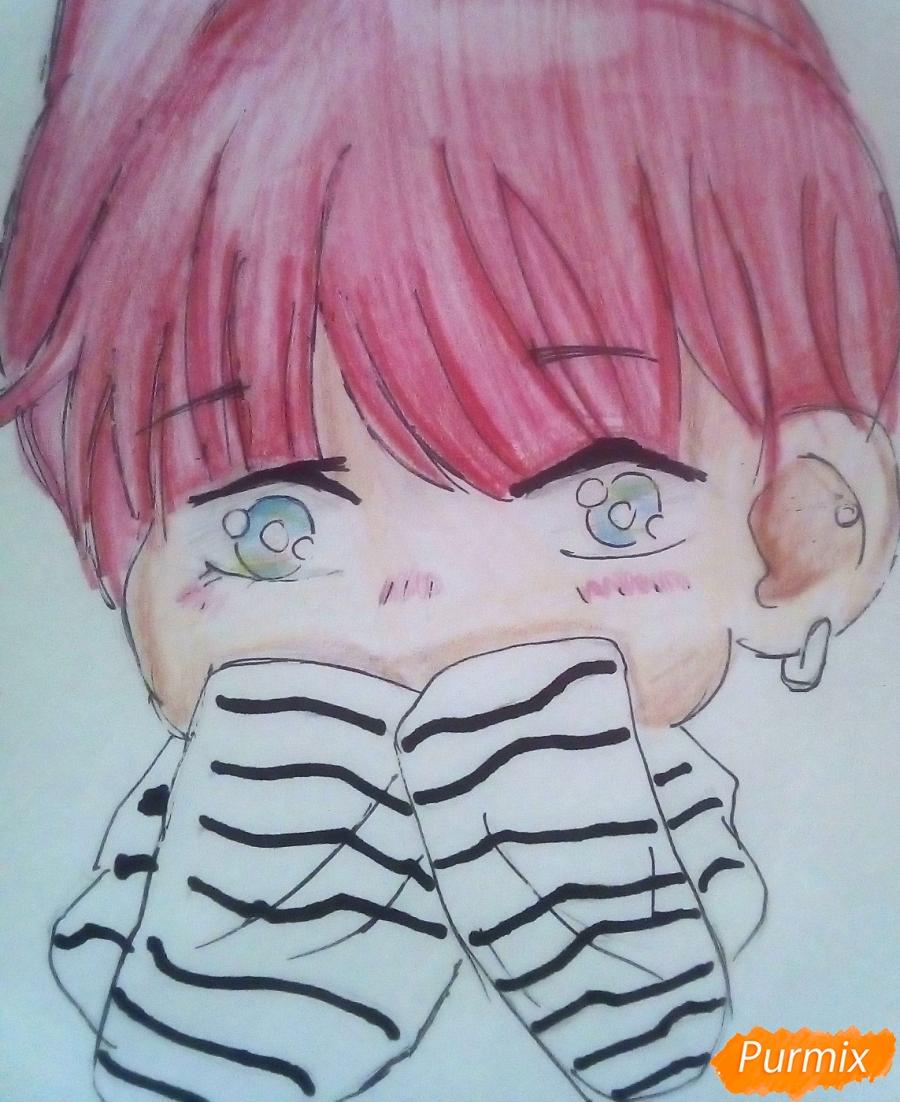 Рисуем милого чиби Чимина из корейской поп-групы BTS карандашами - шаг 8