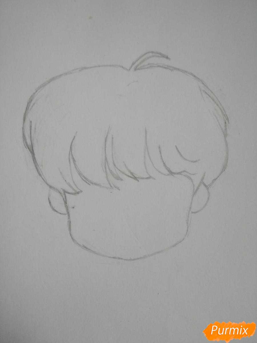Рисуем чиби Чон Хосока BTS карандашами - шаг 2