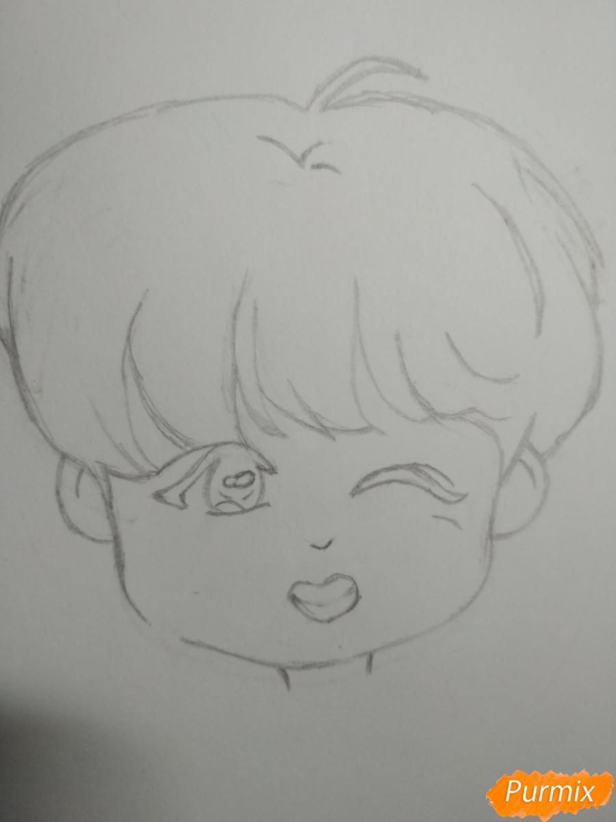 Рисуем чиби Чон Хосока BTS карандашами - шаг 3