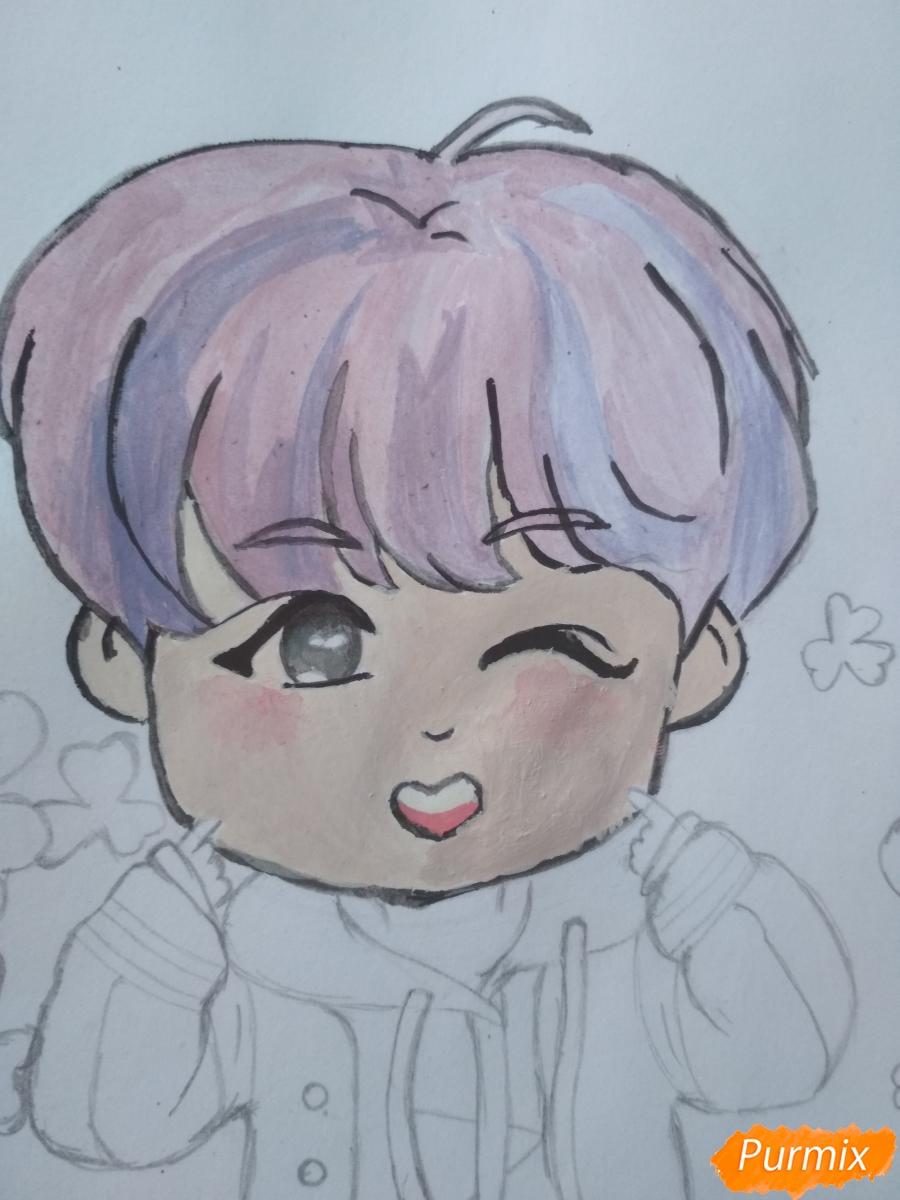 Рисуем чиби Чон Хосока BTS карандашами - шаг 8
