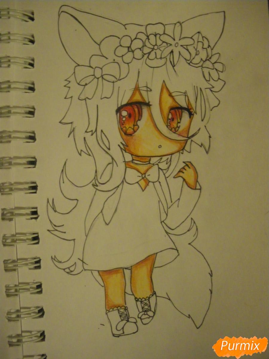 Рисуем чиби девочку неко с жёлтыми волосами - шаг 10