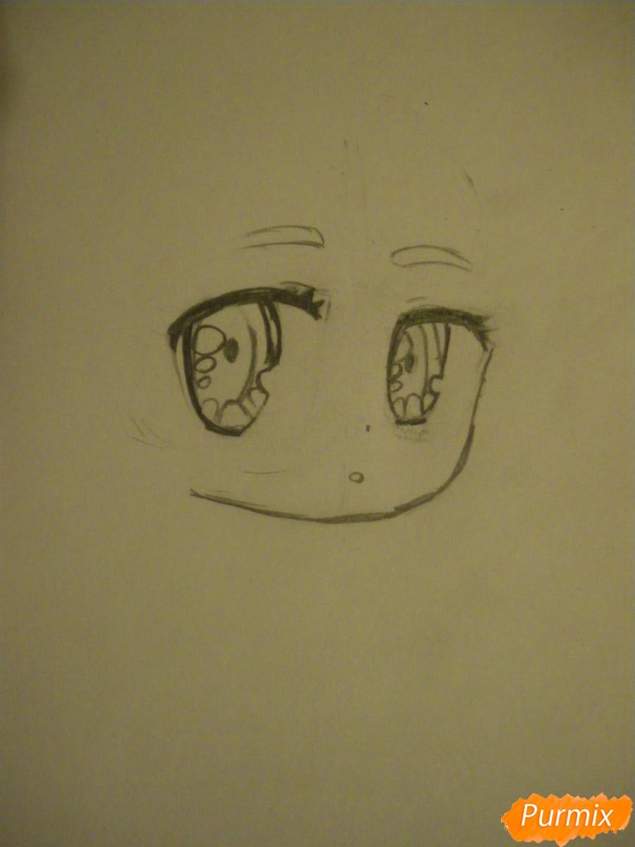 Рисуем чиби девочку неко с жёлтыми волосами - шаг 2