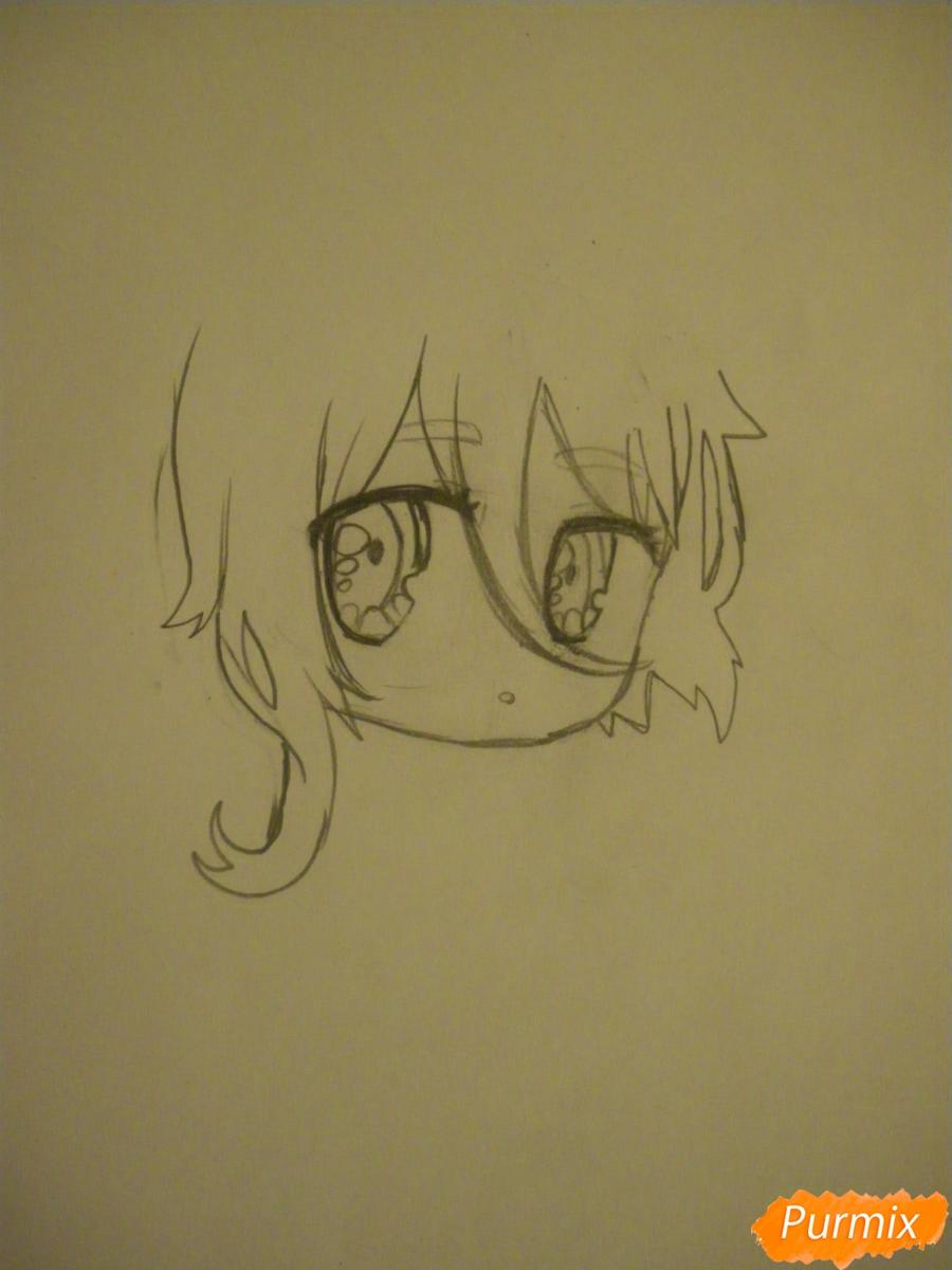 Рисуем чиби девочку неко с жёлтыми волосами - шаг 3