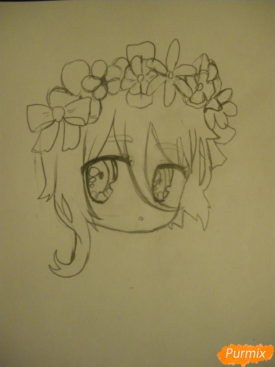 Рисуем чиби девочку неко с жёлтыми волосами - шаг 4