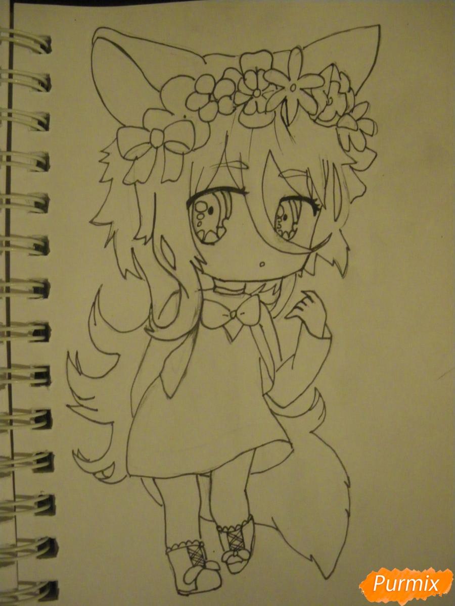 Рисуем чиби девочку неко с жёлтыми волосами - шаг 8