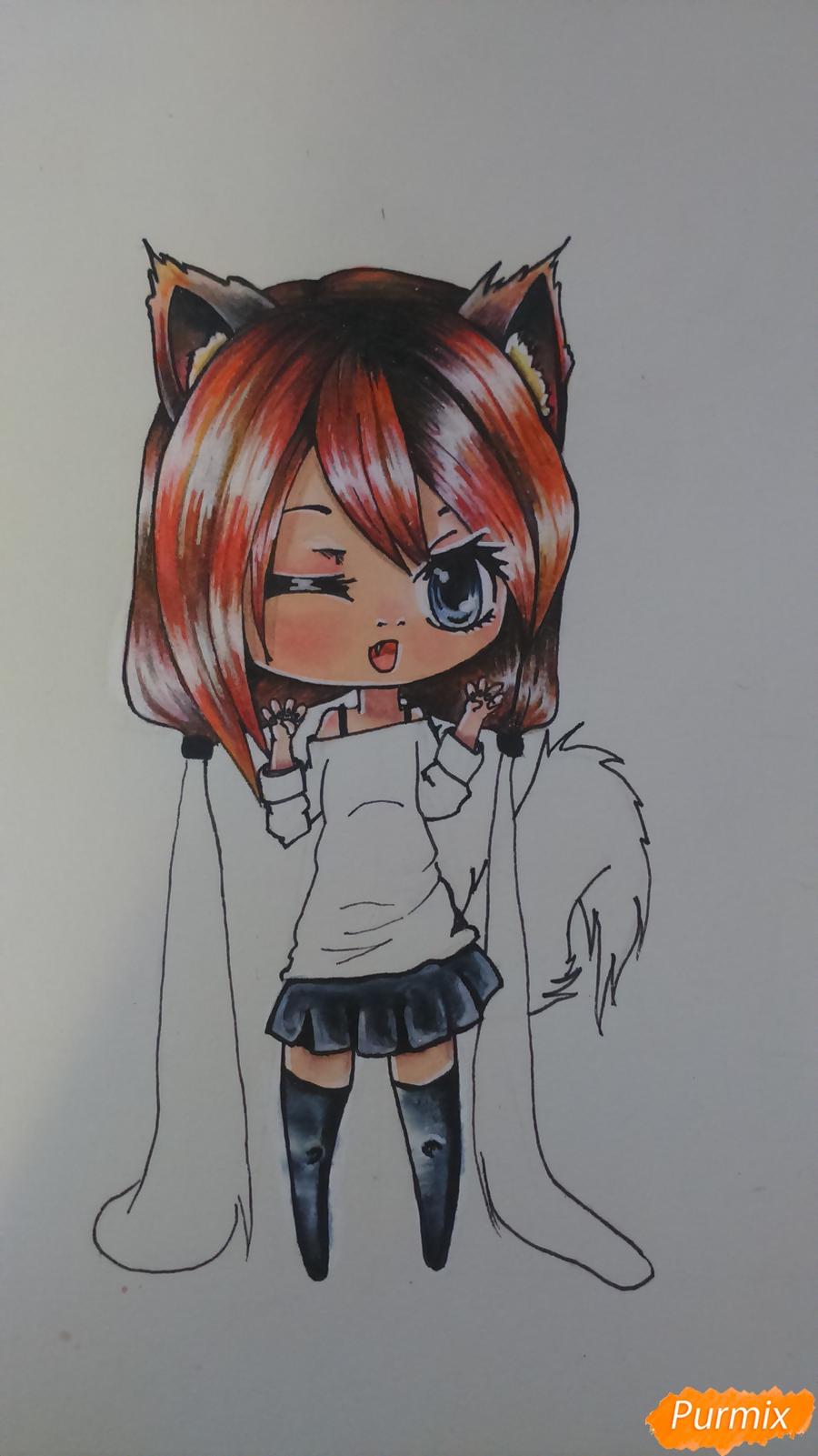 Рисуем милую чиби девочку с длинными волосами - шаг 13