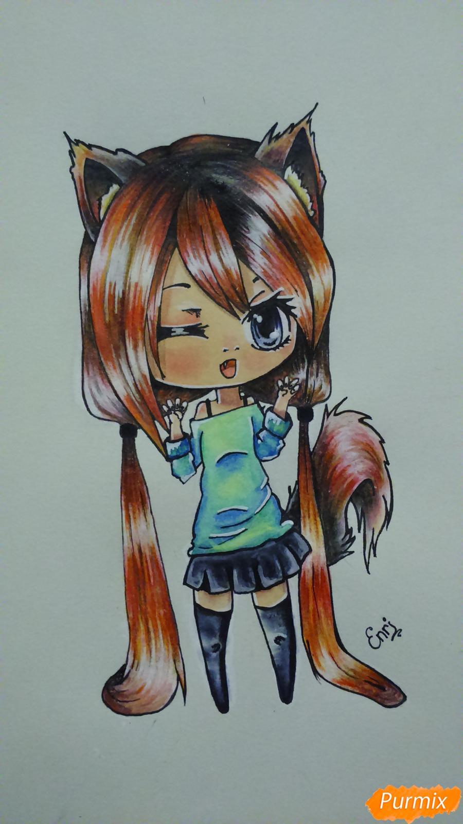 Рисуем милую чиби девочку с длинными волосами - шаг 16
