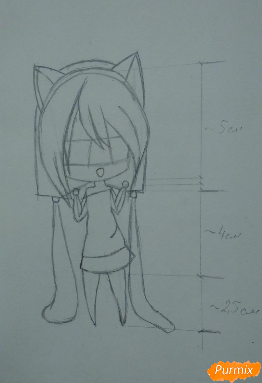 Рисуем милую чиби девочку с длинными волосами - шаг 6